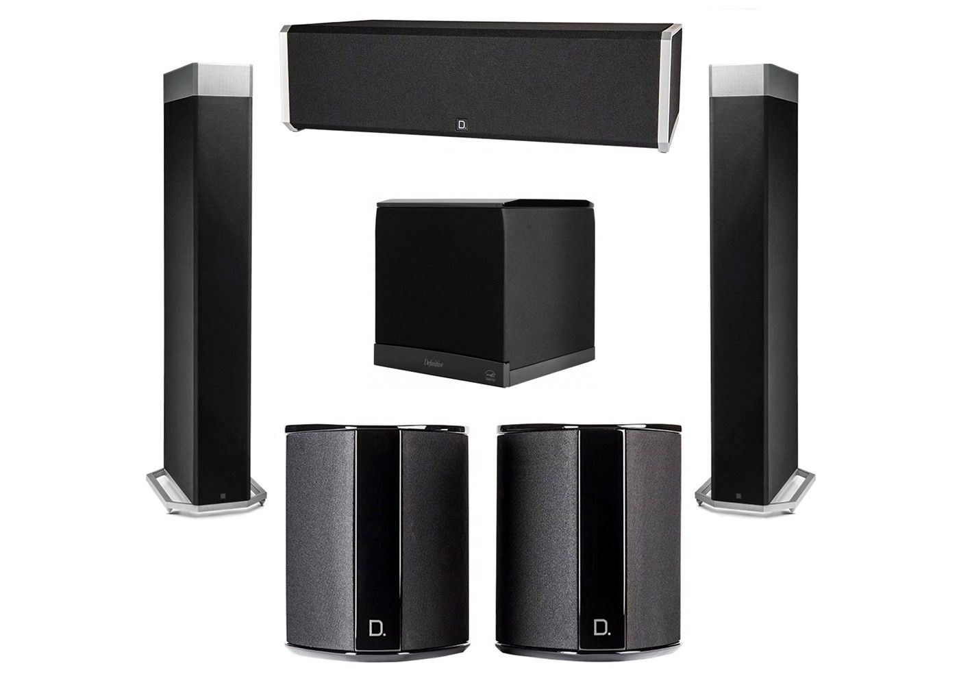 definitive technology 5.1 system with 2 bp9080x tower speakers, 1