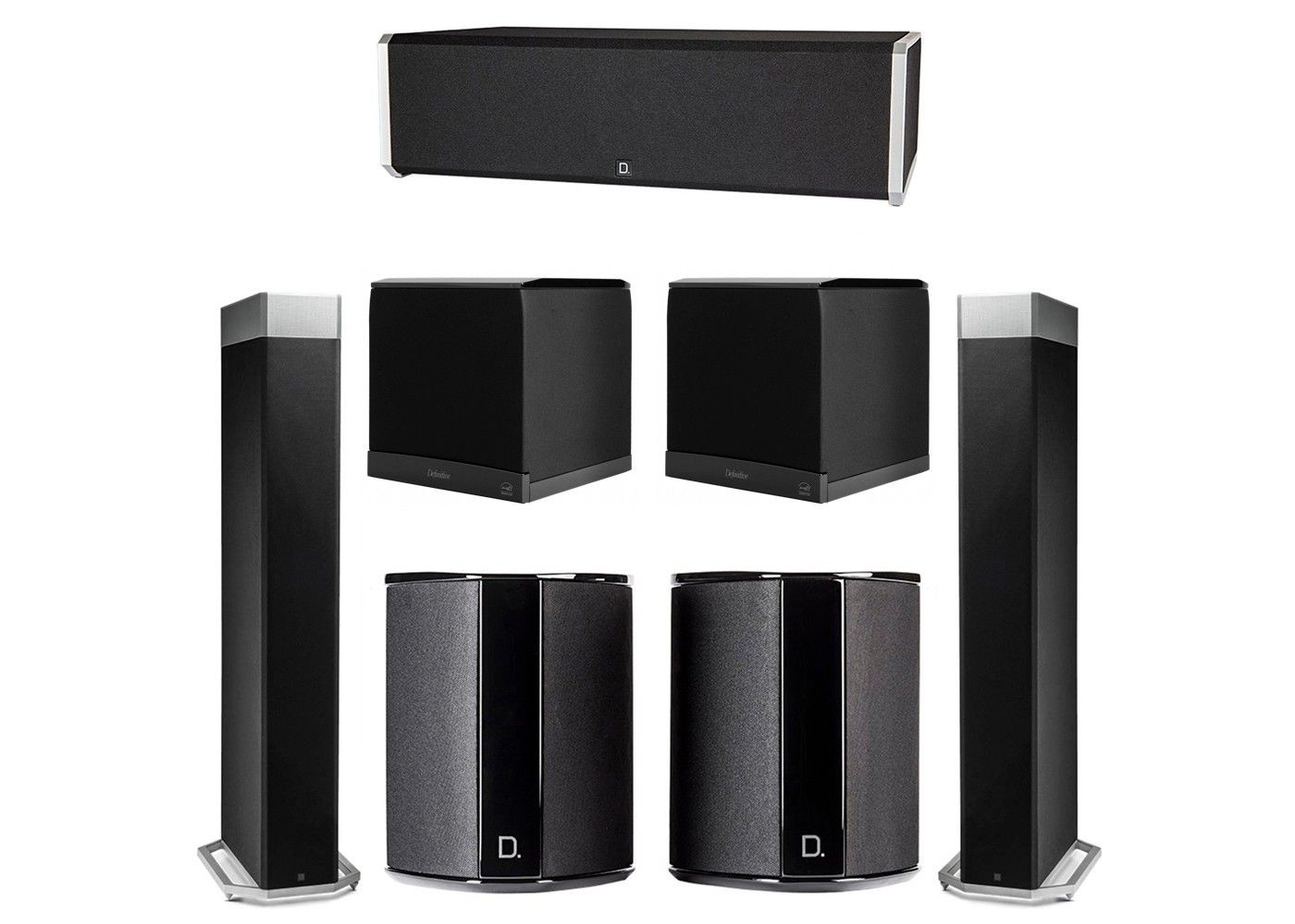 definitive technology 5.2 system with 2 bp9080x tower speakers, 1