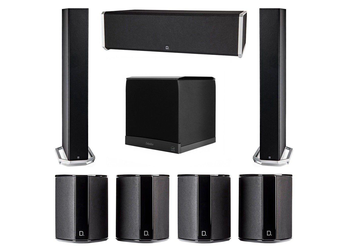 definitive technology 7.1 system with 2 bp9060 tower speakers, 1