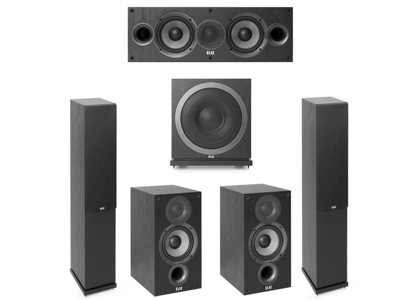 Elac 51 System With 2 F52 Floorstanding Speakers 1 C52 Center Speaker B52 Bookshelf