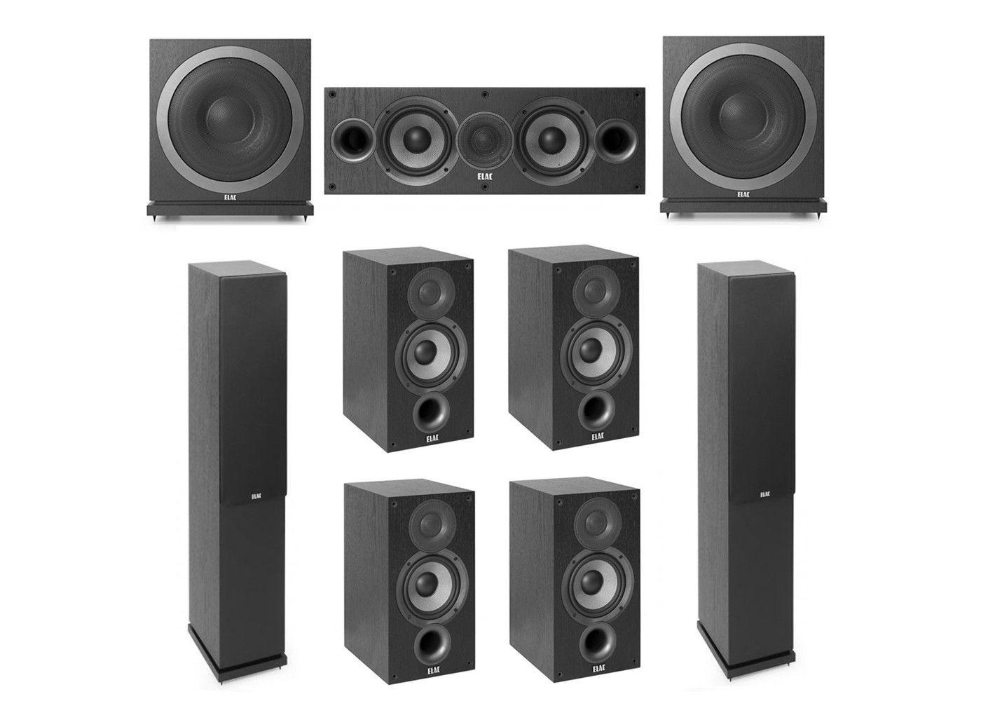 Elac 72 System With 2 F52 Floorstanding Speakers 1 C52 Center Speaker 4 B52 Bookshelf