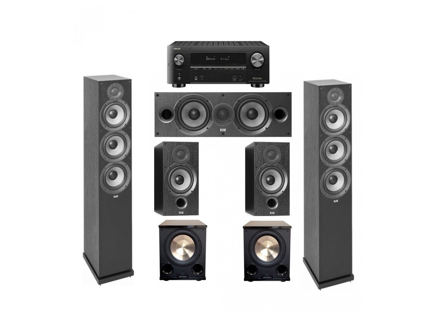 Elac 5.2 System- 2 Debut F6.2, 1 C6.2 , 2 B6.2, 2 PL-200 II with X3500H Reciever