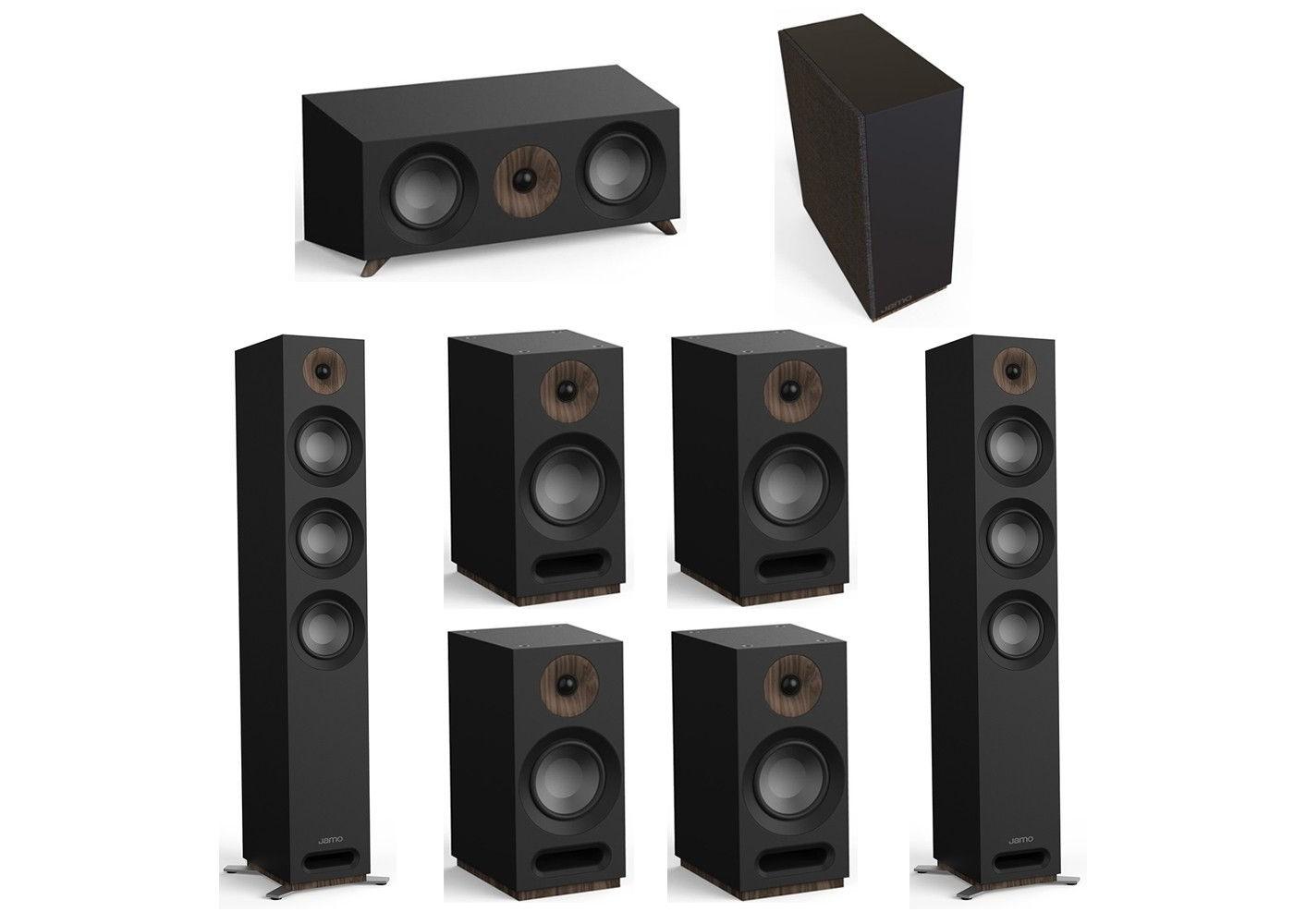 Jamo Studio Series 7 1 System with 2 Jamo S 809 Floorstanding Speakers, 1  Jamo S 83 Center Speaker, 4 S 803 Bookshelf Speakers, 1 Jamo S 810 Subwoofer