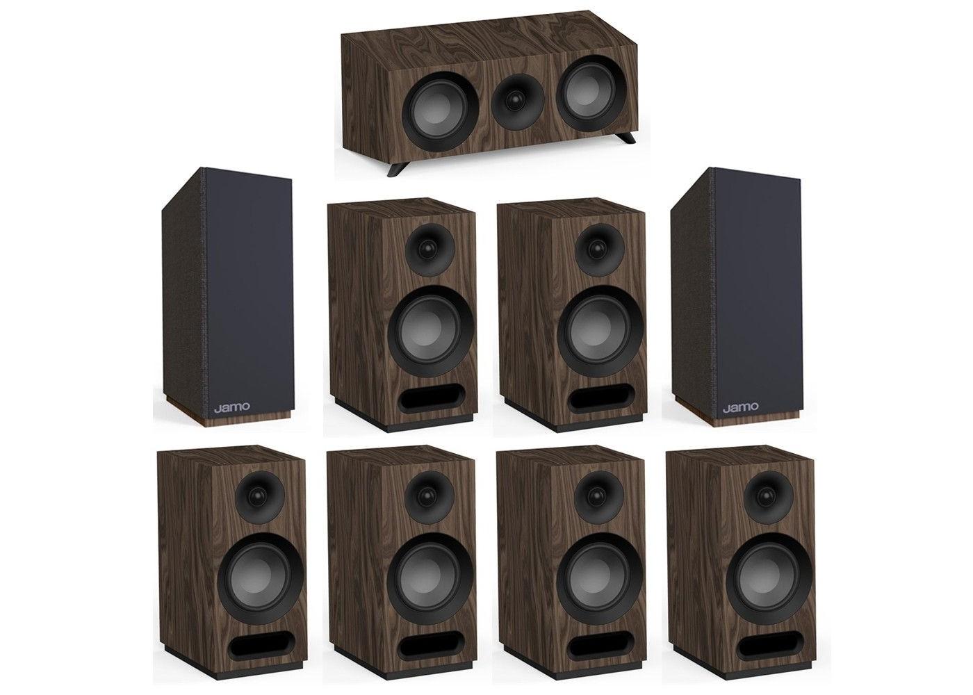 Jamo Studio Series 7 2 Walnut System with 2 Jamo S 803 Bookshelf Speakers,  1 Jamo S 83 Center Speaker, 4 S 803 Bookshelf Speakers, 2 Jamo S 810