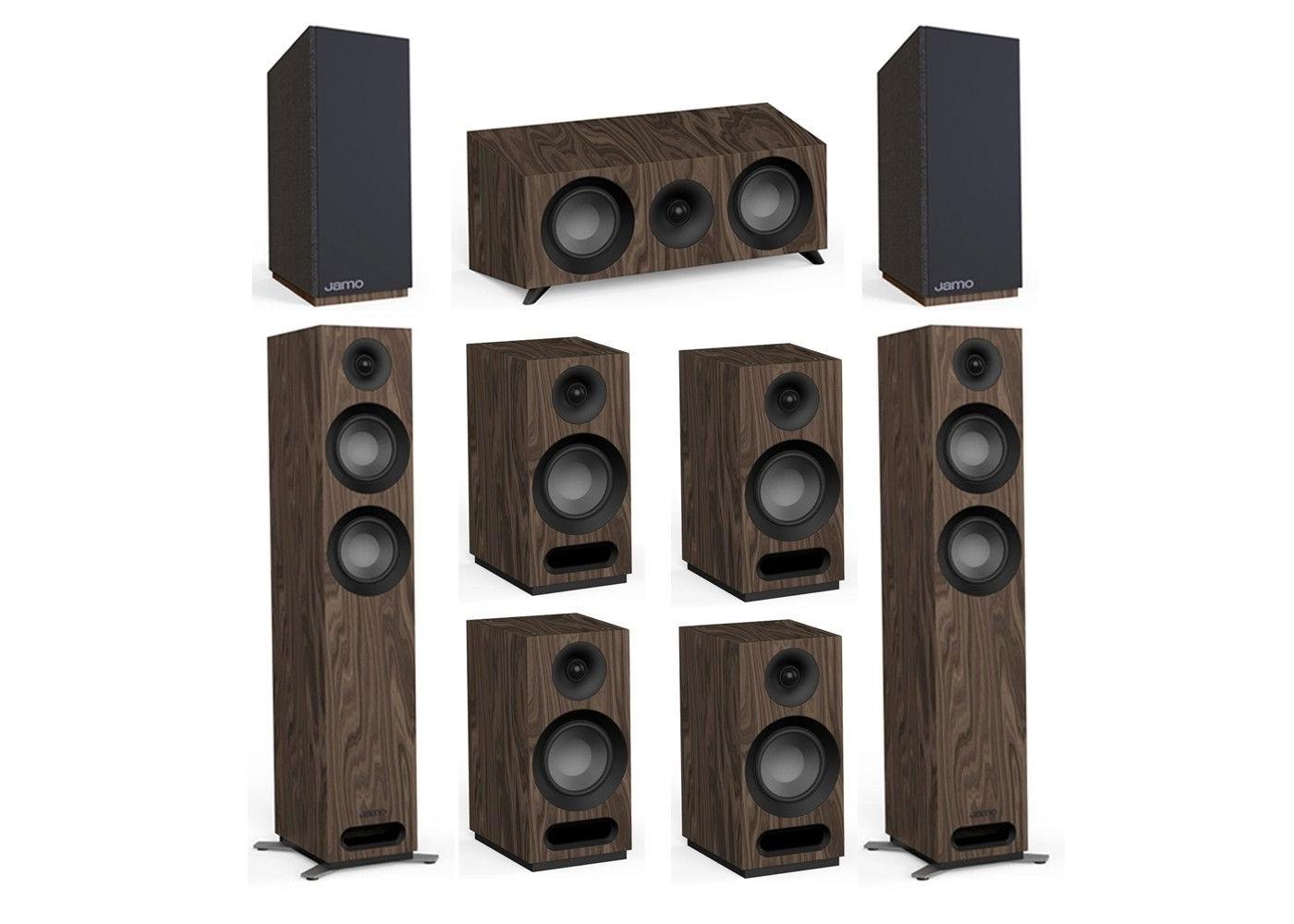 Jamo Studio Series 7 2 Walnut System with 2 Jamo S 807 Floorstanding  Speakers, 1 Jamo S 83 Center Speaker, 4 S 803 Bookshelf Speakers, 2 Jamo S  810