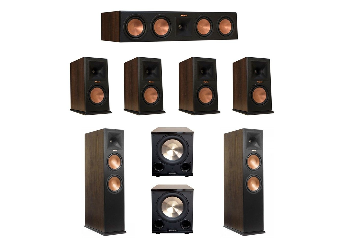Klipsch Walnut 72 System With 2 RP 280FA Tower Speakers 1 450C Center Speaker