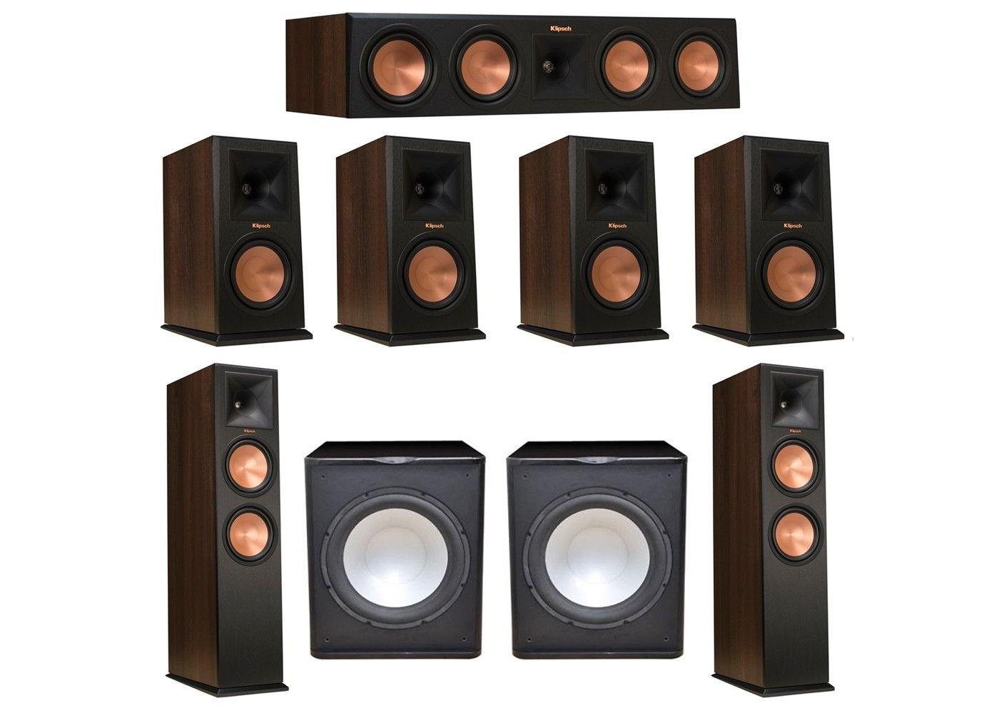 Klipsch 72 Walnut System With 2 RP 280F Tower Speakers 1 450C Center Speaker