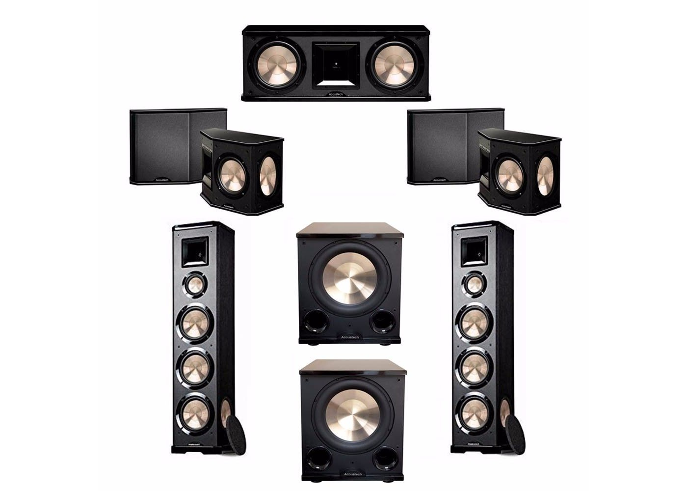 BIC Acoustech 5.2 System with 2 PL-980 Floorstanding Speakers, 1 PL ...