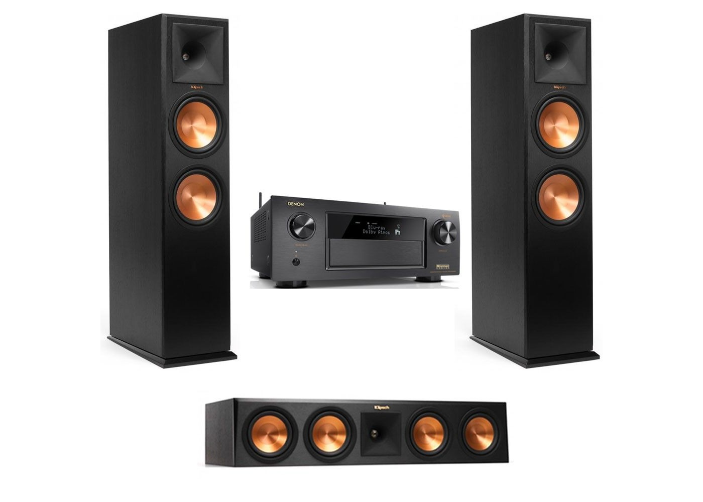 Klipsch RP-280FA Pair, RP-450C Center - 3 0 2 Dolby Atmos Home Theater  Bundle with Denon AVR-X4400H Receiver
