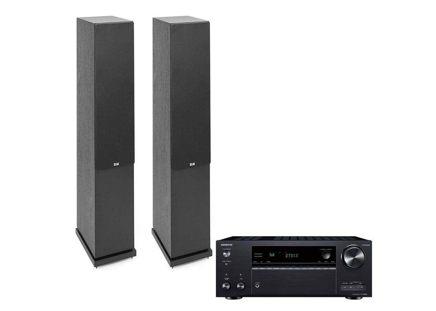Elac Debut F6 2 Floorstanding Speakers with Onkyo TX-NR686